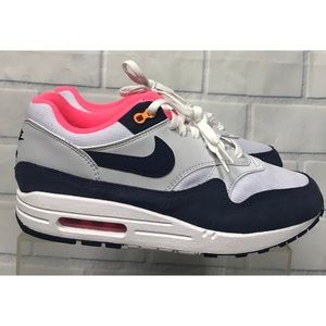 NEW Nike Air Max 1 White Midnight Navy Sneakers 9
